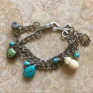 Turquoise and Silver Chain Link Charm Bracelet